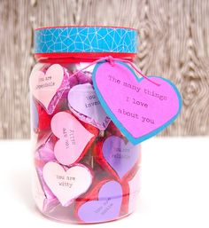 """""""The many things I love about you"""" Valentine's Day candy jar Things To Do With Your Boyfriend, Creative Gifts For Boyfriend, Boyfriend Gifts, Homemade Valentines, Valentines Day Party, Valentine Crafts, Valentine Ideas, Personalized Mason Jars, Mason Jar Gifts"""