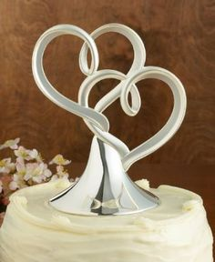 2 Brushed Silver Hearts With Shiny Base Wedding Cake Topper