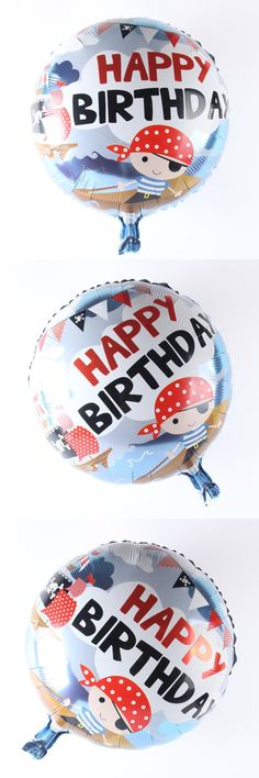 [Visit to Buy] 18inch Happy Birthday Pirate Boy Cartoon Balloon Aluminum Foil Balloons Party Decoration Balloon Celebration Supplies #Advertisement