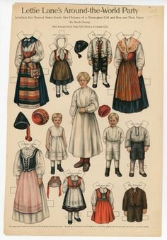 Lettie Lane's around-the-World Party: Norwegian Girl and Boy and Their Nurse  paper doll  1910  Artist	:  Sheila Young