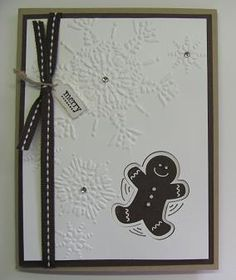 Lynn Starzle posted this cute gingerbread snow angel card on her blog in early November, but I missed it! I would have loved making a few of these for my grandkids. (Not that they won't love the punched Mittens and punch art stocking cap card I made.)