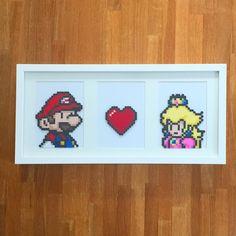 Mario ❤ Princess Peach. Made with perler beads