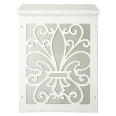 Blink Shadowbox Fleur de Lis Vertical Wall Mount Mailbox in White and by Blink Manufacturing. $145.00