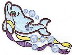 Dolphin applique with ribbons
