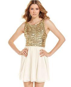 B Darlin Juniors Dress Sleeveless Metallic Sequin A Line