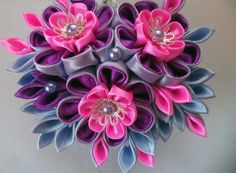 Handcrafted floral crab clip