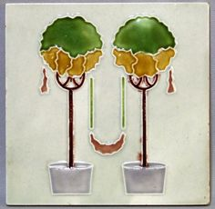 German Secessionist Tile of Topiary Trees, c. 1900