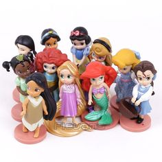 Princesses Toys Snow White Merida Rapunzel Belle Tiana Ariel Jasmine Mulan PVC Figures Gifts for Girl 11pcs/set