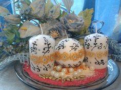 Set di 3 Candele con Decorazione Henné Oro e Nero di scintilledicolore su Etsy