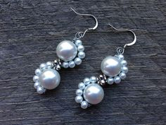 Scalloped White Pearl Earrings Bridal Earrings Lace Inspired with Silver or Gold French Wire Hooks by haileyallendesigns