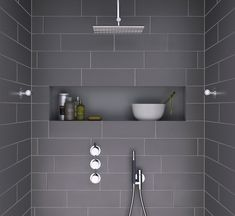 Ideas For Bathroom Remodel Grey And White Shower Niche Grey Bathroom Tiles, Laundry In Bathroom, Grey Bathrooms, Beautiful Bathrooms, Modern Bathroom, Grey Tiles, Bathroom Storage, Modern Shower, Bathroom Bath