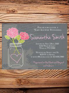 Baby Shower Invitation Mason Jar Roses Pink by StellarDesignsPro, $21.00