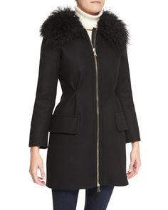 B2PGS Moncler Long Zip-Front Fur Collar Jacket
