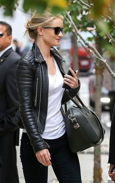 | quilted leather jacket, dark skinnies and that bag ||