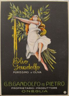 1920s Italian Advertising Carton, Olio Gandolfo, Black and Gold Original Vintage Ad for Olive Oil, Black and Yellow Advertising Sign