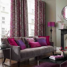 Contemporary style living room in Charcoal Grey, Orchid Purple and Fuchsia.