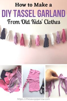 DIY Tassel Garland using Old Kids' Clothes - Easy Fabric Garland! If you're a parent, then chances are you have piles and piles of old kids clothes clutter. Make this easy DIY tassel garland from your old kids clothes! Upcycle old clothes into beautiful D Diy Room Decor For Girls, Easy Diy Room Decor, Diy For Girls, Diy For Room, Diys For Your Room, Easy Diys For Kids, Kids Diy, Kids Decor, Diy Tassel Garland