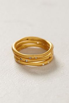 matched sliver stacked rings / anthropologie