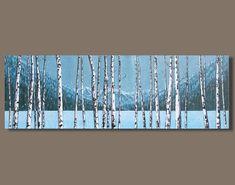 FREE SHIP abstract art winter tree painting panoramic