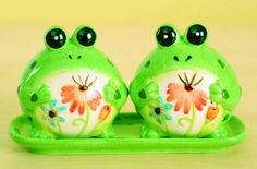 Ceramic Frogs Salt and Pepper Shakers with Tray (Set of 3) by In the Garden and More. $24.95. Comes as a set of 3. Colorfully painted and decorated. Handcrafted of ceramic with glazed finish. Includes ceramic tray, salt shaker and pepper shaker. Fun for entertaining indoors or outdoors. This set is so so so cute and so so so fun. You will want to use it often and leave it out all the time whether in use or not. They are great for an outdoor event, but equally as fun indoor...
