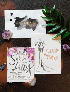 Fashion-inspired watercolor invitation