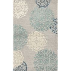 Office  Found it at Joss & Main - Monique Gray & Silver Floral Wool Hand-Tufted Area Rug