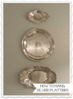 How to hang silver platters on the wall using 3M Command Hooks and a twist tie. No metal plate hangers needed!
