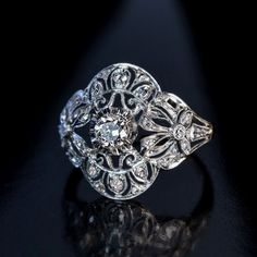 Antique Edwardian Bow Motif Diamond Engagement Ring - Antique Jewelry   Vintage Rings   Faberge Eggs #JewelryVintage
