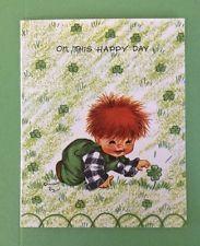 Vintage Charlot Byj Byi Birthday Greeting Card ~ Red Head Boy with 4 Leaf Clover