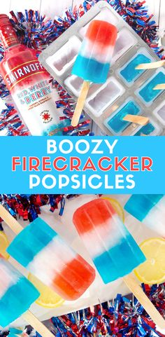 Recreate Firecracker Popsicles with a boozy twist. These Boozy Firecracker Popsicles will be the highlight of your Memorial Day or Fourth of July party. Made with Smirnoff Red, White, and Berry Vodka and lemonade, it's a fun boozy popsicle to impress gues Vodka Popsicles, Alcoholic Popsicles, Alcoholic Drinks, Memorial Day, Smirnoff Red, Cocktail Bleu, Fourth Of July Drinks, July 4th, Blue Drinks