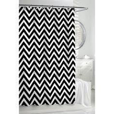 Chevron Shower Curtain - Black/White | Gracious Style
