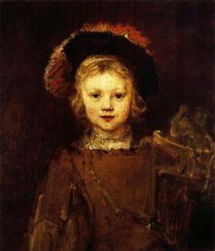 Rembrandt van Rijn: zijn zoon Titus. Rembrandt is een meester op het gebied van omgaan met licht. Het is net of er een spotje gericht is op het gezicht van het jongetje. Het licht-donkercontrast springt uit het schilderij. De jongen is duidelijk en precies in beeld gebracht (zijn gezicht). Als je naar zijn mantel kijkt is er gebruikt gemaakt van grote penseelstreken en wordt het iets minder precies weergegeven. De jongen glimlacht een beetje en heeft een zachtaardige uitstraling. Centraal…