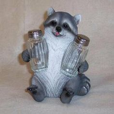 Coon Seasonings Raccoon Salt and Pepper Holder Figurine by DWK. $12.55. Coon Seasonings Raccoon Salt and Pepper Holder Figurine... FTH490... Who says that Raccoons are thieves? Just because this Raccoon is wearing a black eye mask doesn?t mean he?s stealing. In fact this Raccoon is turning over a new leaf and offering you the salt and pepper. The way he is...