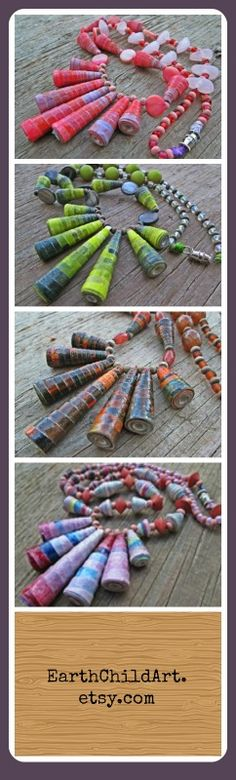 Looking for an eco-friendly Valentine's gift? Check out these paper bead necklaces from Earth Child Art.  https://www.etsy.com/shop/EarthChildArt?ref=si_shop