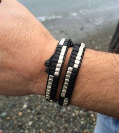 Unisex Men's Wrap Bracelet, Black Matte Miyuki Beads, Silver Miyuki Beads, Silver World Earth Clasp-#26 by CupidsMoonJewelry on Etsy