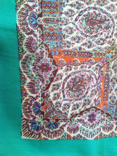 Vintage 1960s Liberty of London impressionist multicolor paisley and Art Deco print silk scarf with green border
