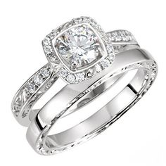 Brilliant Round Cut Sculptural Inspired Accented Wedding Ring Set in SOLID 14K Gold