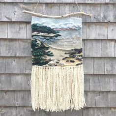 Up On An Island (private collection) X hand woven tapestry. Americo Original Cascade Yarns Alafoss Wool Store The LoopWaking Up On An Island (private collection). Weaving Wall Hanging, Weaving Art, Weaving Patterns, Tapestry Weaving, Loom Weaving, Hand Weaving, Weaving Projects, Macrame Projects, Deco Nature