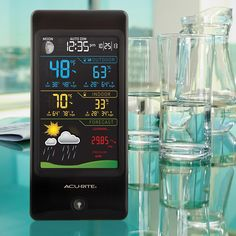 The AcuRite Color Digital Weather Station (02026) uses patented Self-Calibrating Technology to provide your personal forecast of 12 to 24 hour weather conditions. Self-Calibrating Forecasting is generated from weather data measured by a sensor in your yard.  The LCD screen includes indoor / outdoor temperature and humidity, moon phase, barometric pressure with weather trend indicator, time, and date. Clock automatically updates itself for Daylight Saving Time. $74.99 on AcuRite.com.