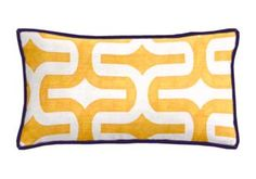 Custom Lumbar Pillow featuring Embrace in Corn Yellow and Slub (EMBRACCY) with Purple poly twill cording (PC-PUR). #LSU #LSUTigers