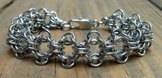Womens Stainless Steel Chainmaille Bracelet by Faroutmaille