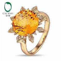[ $240 OFF ] Sun Shape Citrine Ring! 12Mm Round 6.98Ct Citrine 14K Yellow Gold Engagement Ring