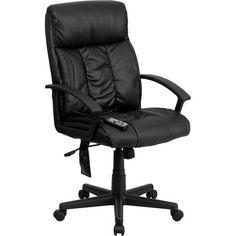 iHome Silkeborg High Back Massaging Black Leather Stylish Executive Swivel Chair w/Arms & Tilt Lock