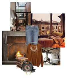 """""""Modern winter"""" by redheadlass ❤ liked on Polyvore featuring Restoration Hardware, Paige Denim, NOVICA, Betsey Johnson, Lauren G Adams, Noor Fares, modern, BetseyJohnson, fireplace and paigeporter"""