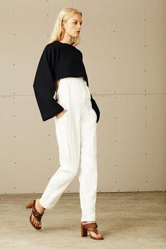 @roressclothes clothing ideas #women fashion black top, white pants
