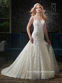 All-Over Lace V-Neck & V-Back Gown