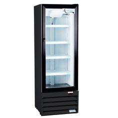 """Avantco GDC10 21"""" Swing Glass Door Black Merchandiser Refrigerator"""