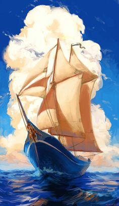 Schooner Speedpaint by Hunternif on DeviantArt Sailboat Art, Sailboat Painting, Old Sailing Ships, Pirate Art, Ship Paintings, Scenery Wallpaper, Pastel Art, Ship Art, Fantasy Artwork