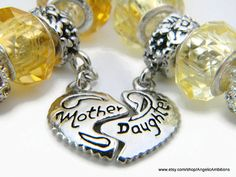 Mother and Daughter Bracelets Murano Glass and by AngelicAmbitions, $50.00