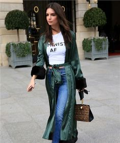 Emily Ratajkowski Steps Out In A Silk Duster Coat